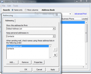 Default Address Book Change